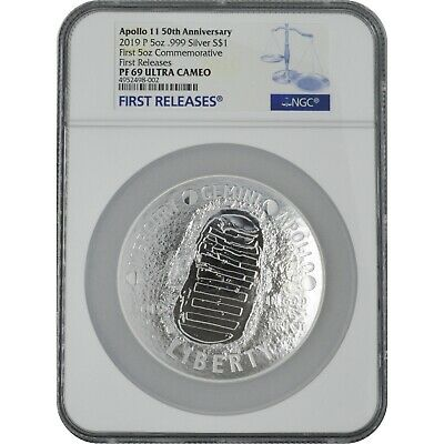 AU99.15 • Buy 2019 Apollo 50th Anniv 5 Oz Proof Silver Coin NGC PF69 First Releases