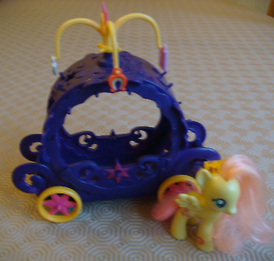 My Little Pony / MLP Purple Princess Charm Carriage 2014 + Small FLUTTERSHY Pony • 7.99£