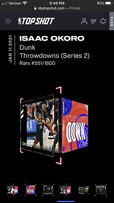$300 • Buy Isaac Okoro Rookie NBA Top Shot S2 NFT Throwdowns Moment Card RARE #551/1800!