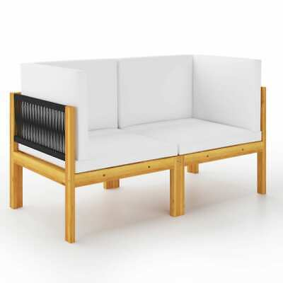 AU330.99 • Buy VidaXL Solid Acacia Wood 2-seater Garden Bench With Cushions Wooden Seating
