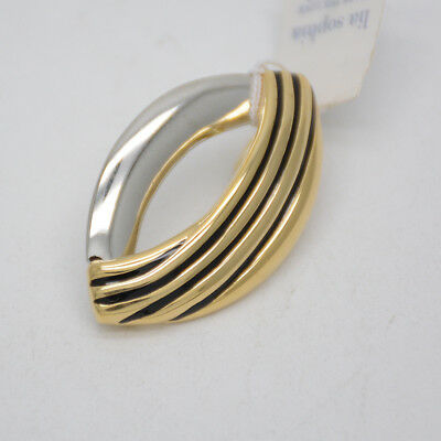 $ CDN9.66 • Buy Lia Sophia Jewelry Two Tone Gold Silver Polished Necklace Pendant Slide For Gift