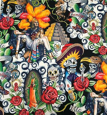 £8.99 • Buy 1/2 Metre Mayan Pyramid Mexico Day Of The Dead Cotton Fabric Ideal - Face Masks