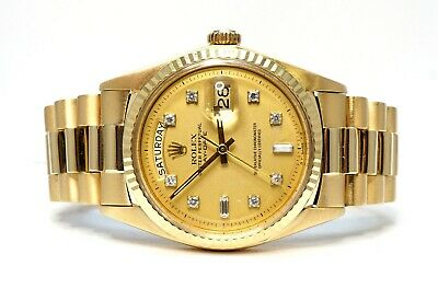 £10995 • Buy ROLEX Day-Date 36 1803 18ct Gold 1978 Champagne Diamond Dot Dial Boxed President