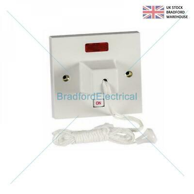 £9.99 • Buy 50amp Shower Pull Cord Ceiling Switch Dp Neon 1 Way Double Pole Ceiling Switch