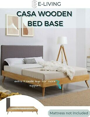 AU359 • Buy Natural Oak Ensemble Bed Frame With Wooden Slats And Fabric Headboard