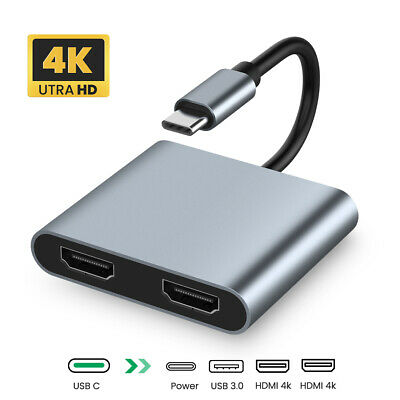 AU31.99 • Buy 4 In 1 USB C To Dual HDMI Adapter 4K USB 3.0 Type C HUB Converter Port PD Charge