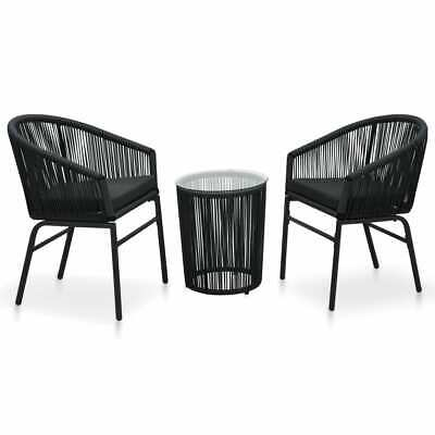 AU308.99 • Buy VidaXL Bistro Set With Cushions 3 Piece PVC Rattan Black Furniture Setting