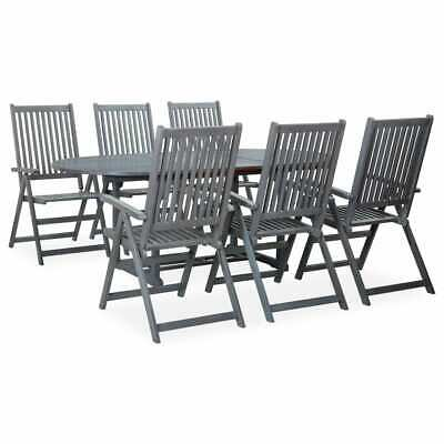 AU800.99 • Buy VidaXL Solid Acacia Wood Outdoor Dining Set 7 Piece Grey Furniture Setting