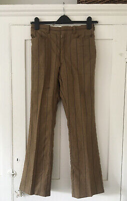 £30 • Buy 1970's Riviera Flare Trousers, Bell-bottoms, In Striped Fabric, Waist 30 In