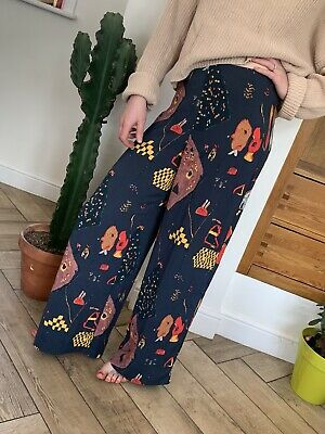 £3.70 • Buy WEEKDAY Blue Trousers Cosmic Print Wide Legged 38 12
