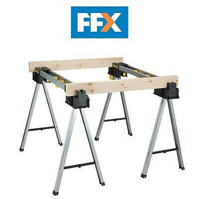 £104.58 • Buy Stanley STS175763 FatMax Aluminium Sawhorse Trestles Twin Pack 900kg Rated Saw