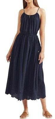 AU20 • Buy Tigerlily Maxi Navy Blue Dress Embroidered Size 8