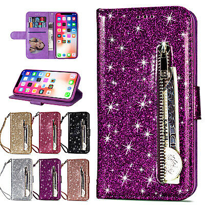 AU13.99 • Buy Fr IPhone XS Max/XR/XS Leather Glitter Bling Zipper Wallet Stand Flip Case Cover