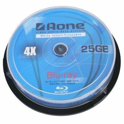 £7.59 • Buy Aone Blu Ray Blank Discs Full Face White Printable 25GB BD-R 10 PACK SPINDLE