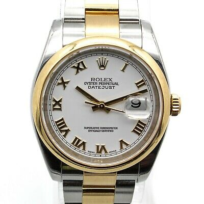 $ CDN1469.13 • Buy Rolex Datejust 2-tone Ss/18k Oyster Perpetual 116203 White 36mm Dial- Nr W2321-1