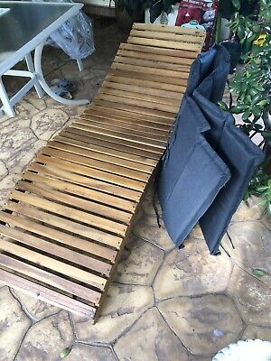 AU54 • Buy 2 Wooden Sunloungers With Cushions In Grey