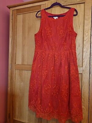 £4.20 • Buy Monsoon Lace Dress Coral 22 BNWT