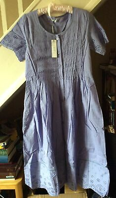 £25 • Buy Beautiful PENNY PLAIN Embroidered Cotton Midi Short Sleeve Flared Dress Size 10S
