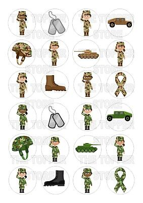 £2.50 • Buy 24 PRE-CUT Army Cadets Edible Wafer Rice Paper Cupcake Topper Cake Decoration