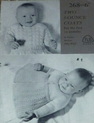 £1.30 • Buy Vintage Paton's Knit Pattern Baby's Cardi Raglan Sleeved Cabled Skirt Coat 268