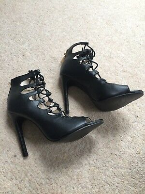 £9.99 • Buy Boohoo Caged Black Sandals Size 4