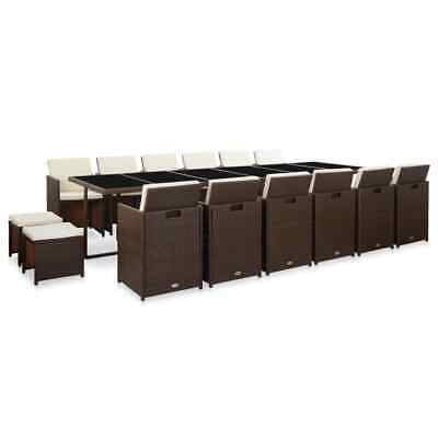 AU1462.99 • Buy VidaXL Outdoor Dining Set With Cushions 17 Piece Poly Rattan Brown Furniture