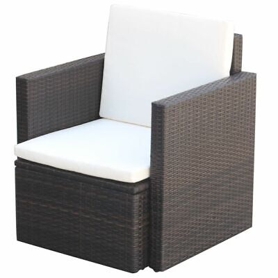 AU105.99 • Buy VidaXL Garden Chair With Cushions And Pillows Poly Rattan Brown Seat Furniture