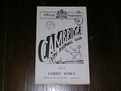 £6.99 • Buy 1958/59  CAMBRIDGE CITY V CORBY TOWN  SOUTHERN LEAGUE CUP  22/01/1959