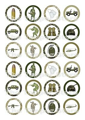 £2.50 • Buy 24 PRE-CUT Military Army Edible Wafer Rice Paper Cupcake Cake Topper Decoration