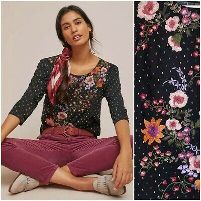$ CDN30.25 • Buy One September Anthropologie Blanche Top Size XS Black Floral Embroidered Shirt