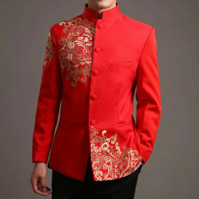 $35.45 • Buy Men Red Tang Suit Chinese Wedding Suit Jacket Embroidery Pattern Jacket