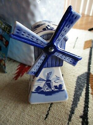 £4.96 • Buy Vintage Delft Blue Miniature Ceramic Windmill With Moving Blades Dutch Holland