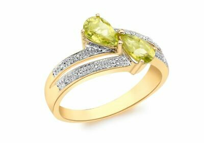 AU456.10 • Buy 9ct Yellow Gold Diamond And Peridot Crossover Ring