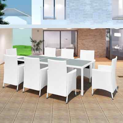 AU947.99 • Buy VidaXL Outdoor Dining Set Table Chairs 17 Piece Wicker Rattan Cream Furniture