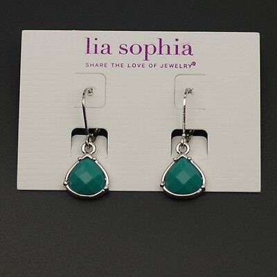 $ CDN8.46 • Buy Lia Sophia Jewelry Polished Silvertone Earrings Blue Beads Cute Drop Dangle Hoop