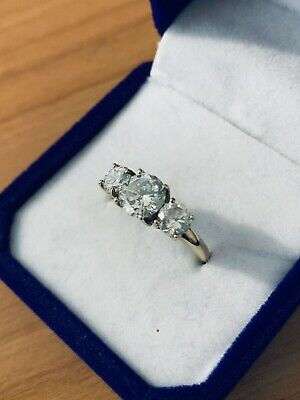 AU142 • Buy Three Stone Quality CZ 9K Gold Ring, Perfect Condition, Size P (8)