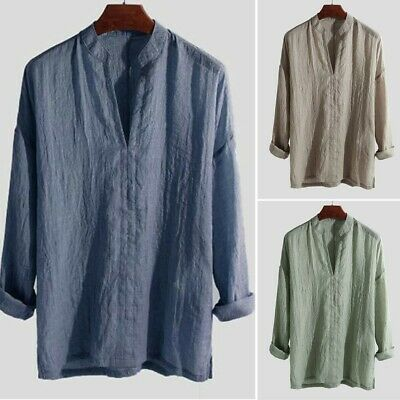 £10.36 • Buy Mens Casual Long Sleeve V Neck Cotton Linen Chinese Style Grandad Shirts Tops