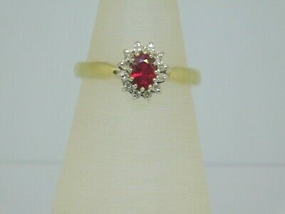 £225 • Buy 9ct Gold Ruby & Diamond Cluster Ring