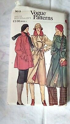 £8.50 • Buy Vogue Ladies Coat Sewing Pattern, 9613, Size 12, Bust 34