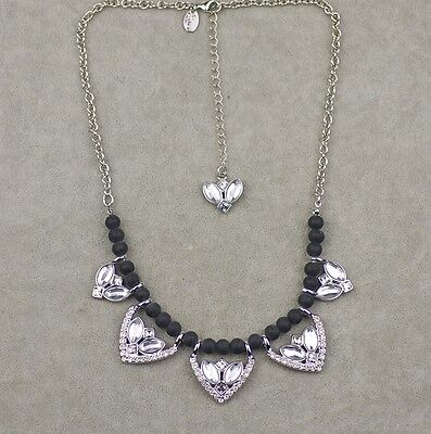 $ CDN9.67 • Buy Lia Sophia Signed Jewelry Black Wood Beads Polish Pendant Necklace Cut Crystal