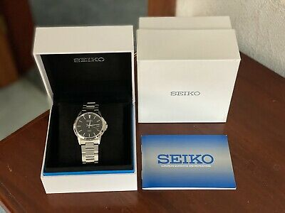 $ CDN51.12 • Buy Seiko Silver Wrist Watch With Black Dial - Stainless Steel Strap