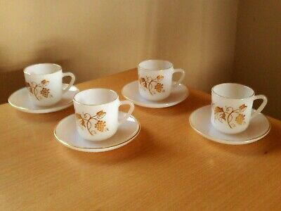 £14.99 • Buy Vintage X4 French Arcopal Espresso Coffee Cups & Saucers Gold Grape Vine Design.