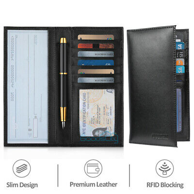 $12.77 • Buy RFID Genuine Leather Checkbook Cover Card Holder Wallet With Pen Holder