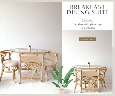 AU997.47 • Buy 🌱💚NEW Rattan Breakfast Dining Chairs + Table ~ Bohemian Outdoor Cane Wicker