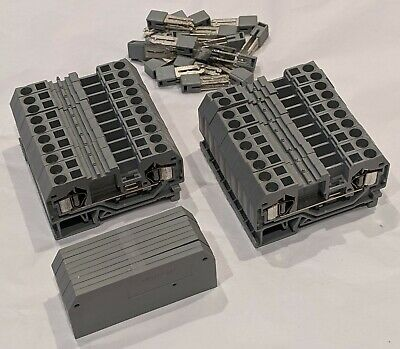 £10 • Buy 20 X WAGO 281-901 2-way Terminals For 4mm2 Cable For 35mm DIN Rail + Jumpers