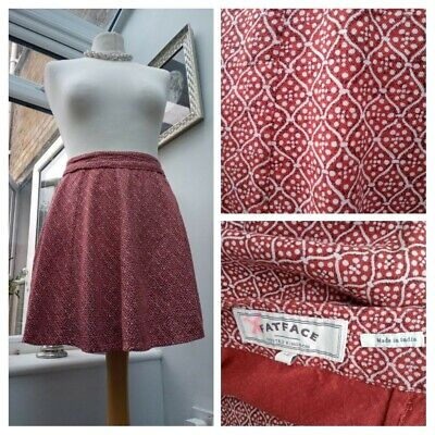 £14.99 • Buy Fat Face Rust Red Patterned Skirt Size 12 VGC  Ethnic Peasent