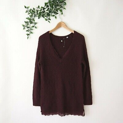 $ CDN12.44 • Buy Knitted & Knotted Anthropologie Lace Trim V Neck Tunic Sweater S Small Purple