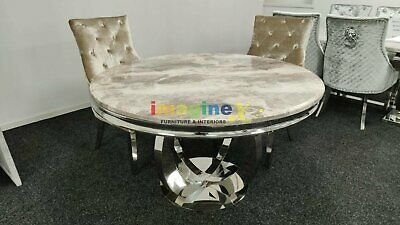 £549 • Buy Chelsea 130cm Beige Marble Round Dining Table + Belle Champagne Dining Chairs