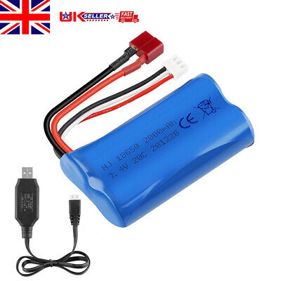 £11.38 • Buy 7.4V 2000mAh 2S Lipo Battery 20C T Plug Connector W/ USB Charger For RC Car UK