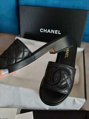 £1118.84 • Buy Authentic Chanel Leather Material Flip Flops 36.5 Free Shipping No.5394